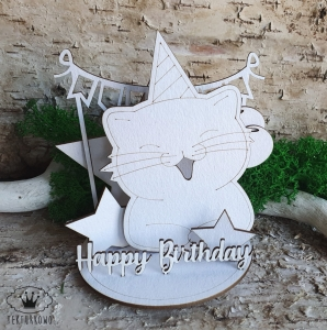Tekturka 3D- URODZINY, Happy Birthday, KOT